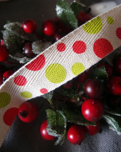 Polka Dot Printed Cotton Ribbon (2 sizes)
