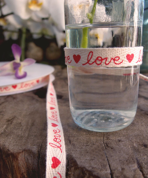 Love Printed Cotton Ribbon (2 sizes)