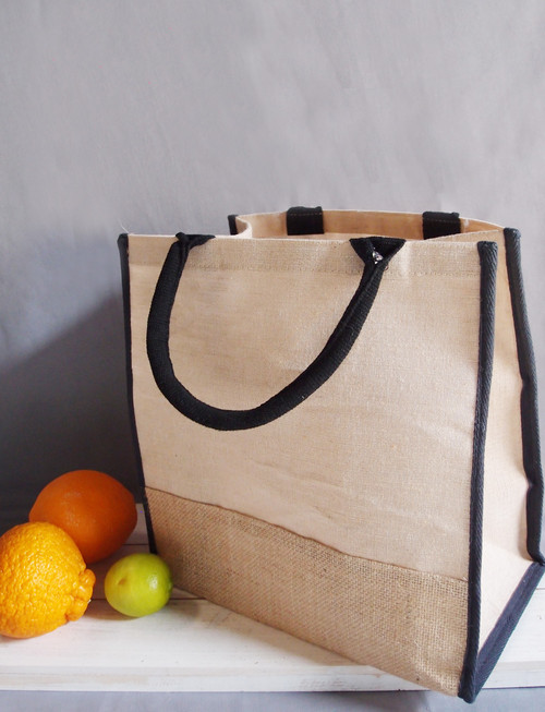 "Jute Blend Tote with Black Trim 12"" x 12"""