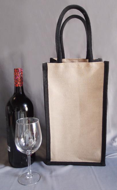 8x14x4 Jute Blend Wine Tote - 2 Bottle -Black Trim