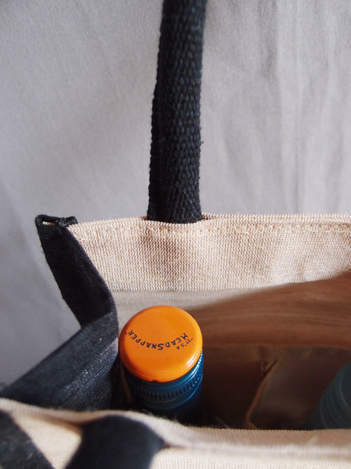 Jute Blend Wine Tote w/Black Trim 2-Bottle