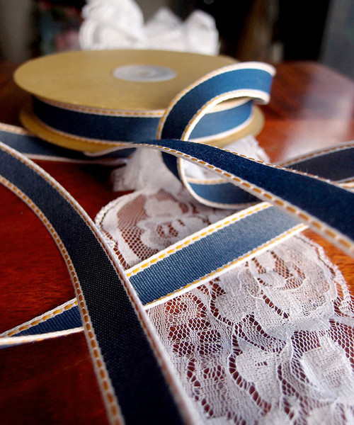 Denim Ribbon with Gold Stitching (3 sizes)