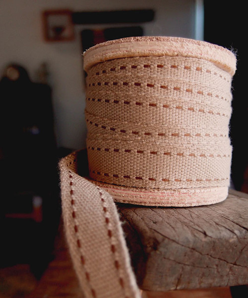 Faux Burlap Brown Saddle Stitch Ribbon