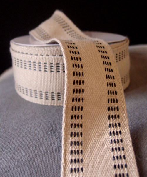 Faux Burlap Webbing with Black Stitching