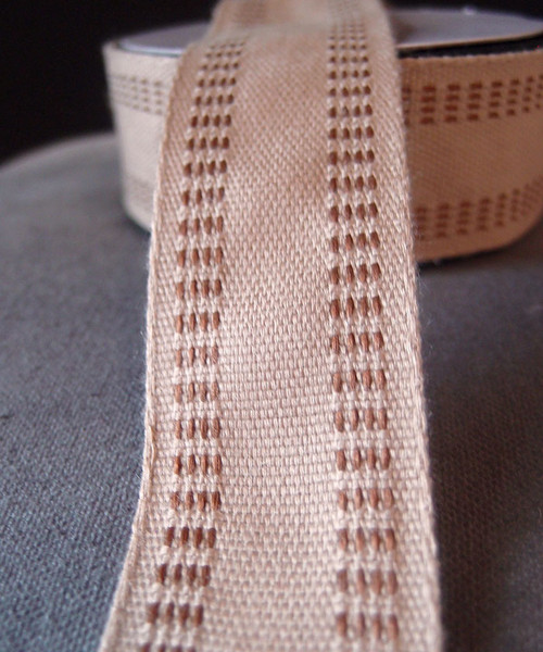 Faux Burlap Webbing with Brown Stitching