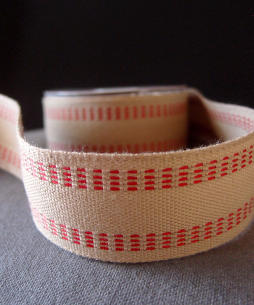 Faux Burlap Webbing with Red Stitching