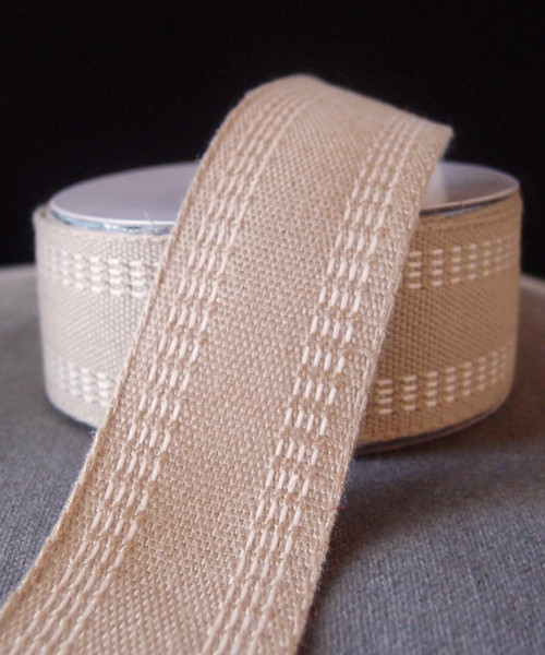Faux Burlap Webbing with Ivory Stitching