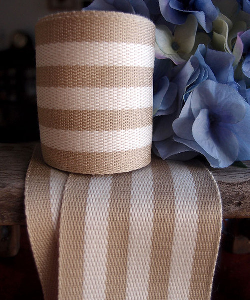 Ivory Striped Faux Burlap Ribbon (2 sizes)