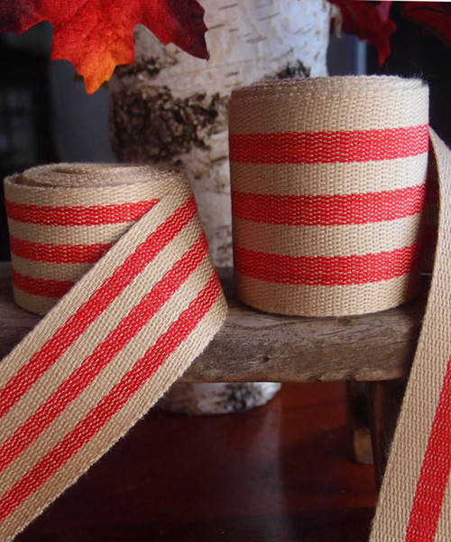 Red Striped Faux Burlap Ribbon (2 sizes)