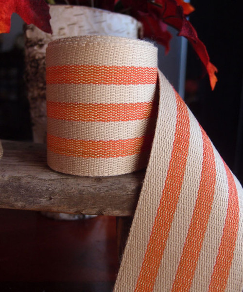 Orange Striped Faux Burlap Ribbon (2 sizes)
