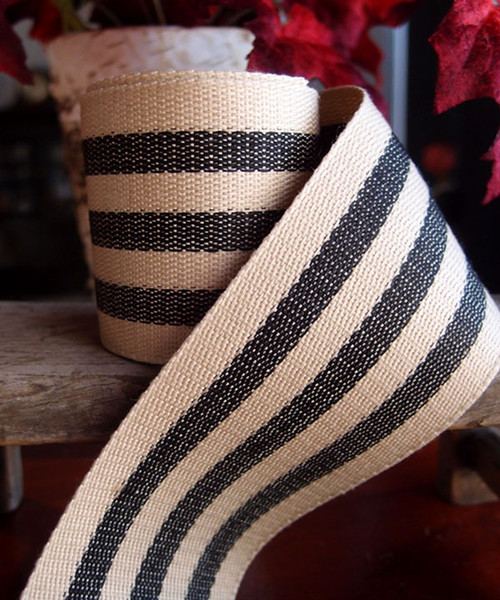 Black Striped Faux Burlap Ribbon (2 sizes)