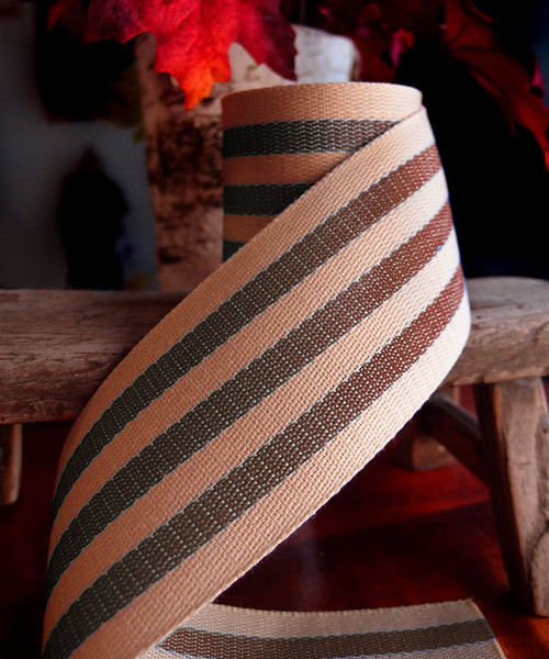 Brown Striped Faux Burlap Ribbon (2 sizes)