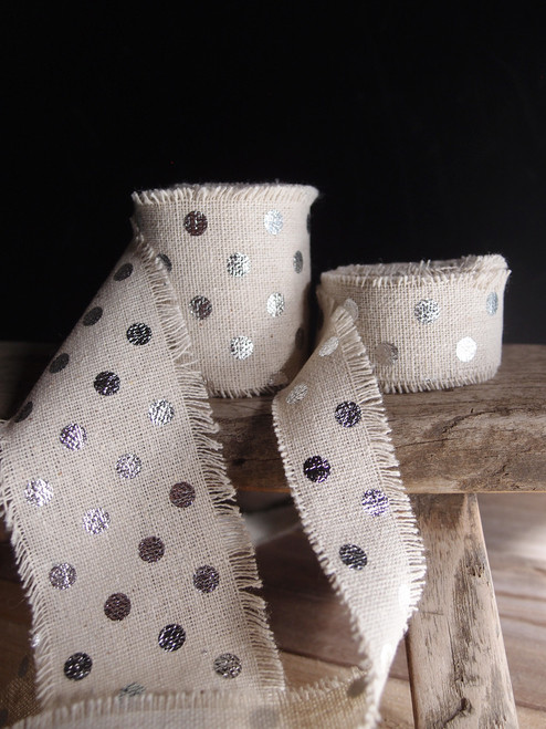 Silver Dots Linen Ribbon (2 sizes)