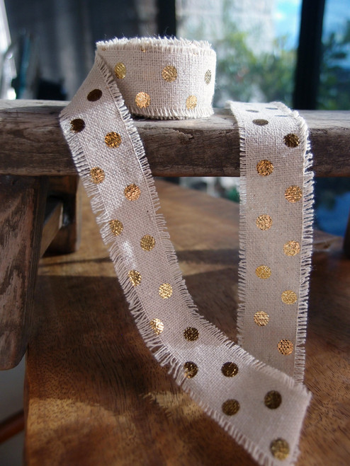Gold Dots Linen Ribbon (2 sizes)