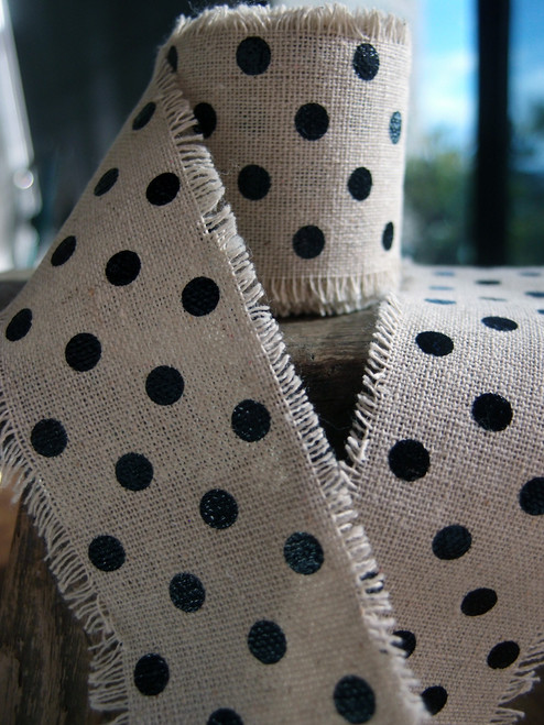 Black Dots Linen Ribbon (2 sizes)