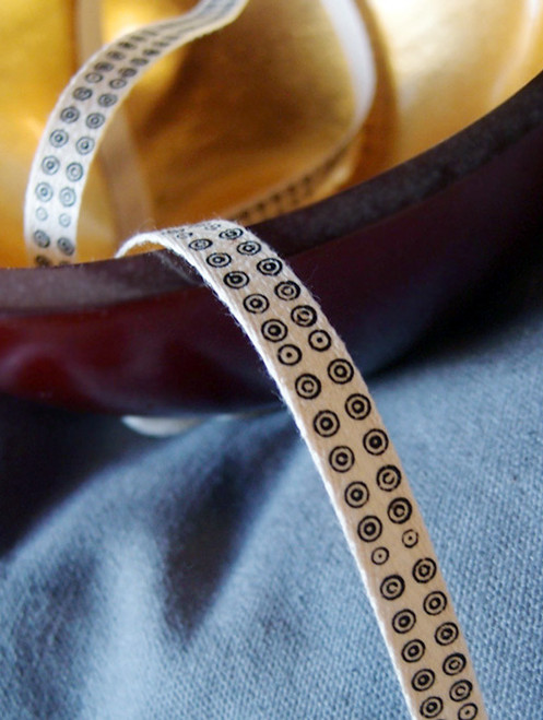 Black Bulls-eye Printed Cotton Ribbon