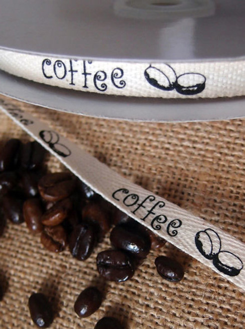 Black Coffee Bean Printed Cotton Ribbon
