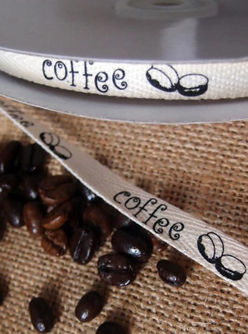 Black Coffee Bean Printed Cotton Ribbon