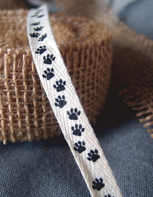 Paw Printed Cotton Ribbon