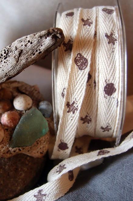 Brown Seashell Printed Cotton Ribbon
