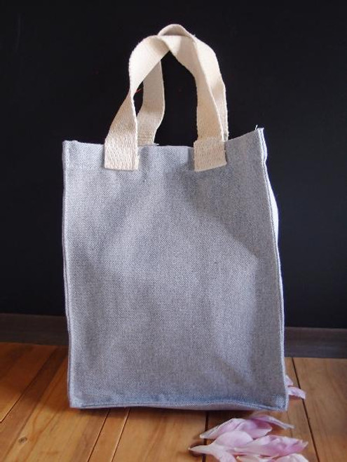 "Gray Recycled Canvas Tote 8"" W x 10"" H x 5"" Gusset"