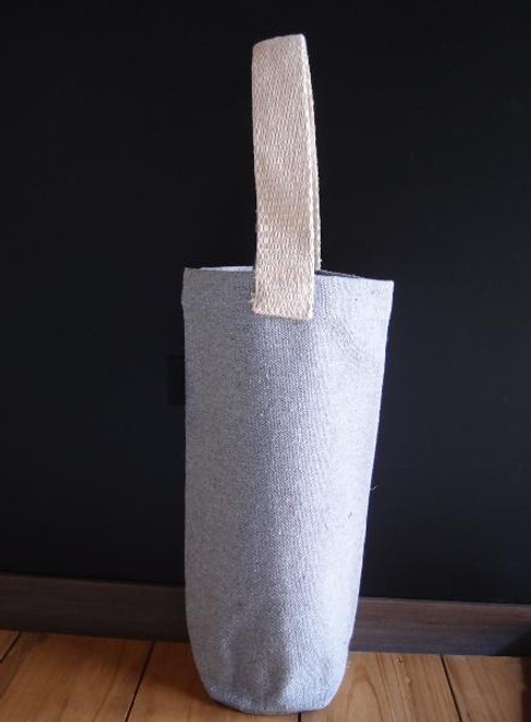 "Grey Recycled Canvas  Wine Tote   3-3/4""Dia. x 10""H"