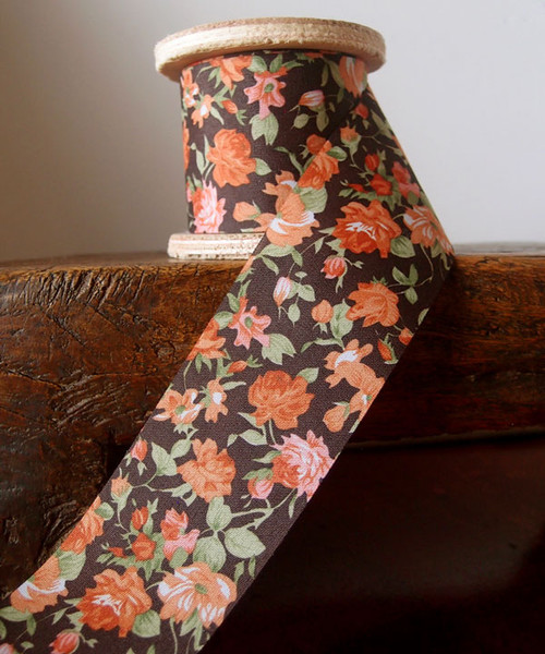 Vintage Floral Print on Black Ribbon with Orange Roses