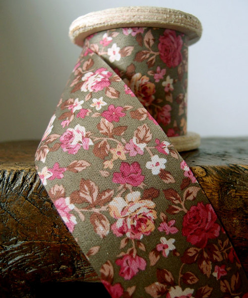 Vintage Floral Print on Olive Ribbon