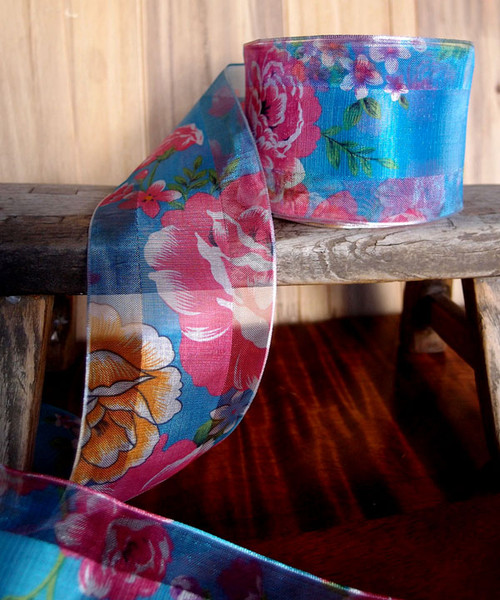 Blue Sheer Floral Wired Ribbon (2 sizes)