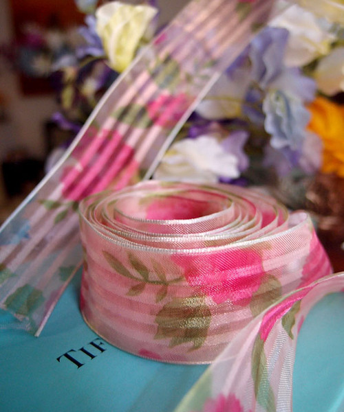 Light Pink Rose Floral Print Satin/Sheer Ribbon with Wired Edge