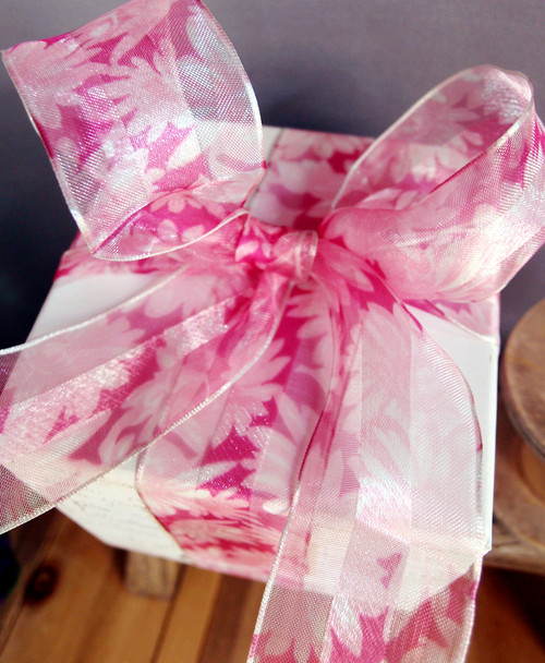 Pink Daisy Floral Print Satin/Sheer Ribbon with Wired Edge