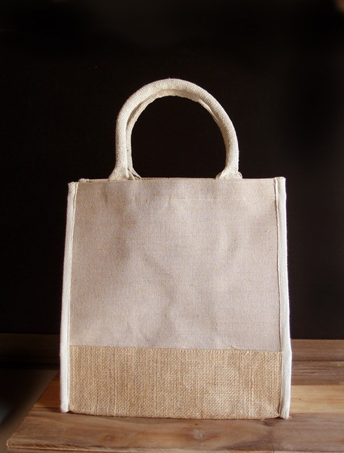 Wholesale Jute Tote Bags, Jute Blend Tote Bag 12 x 12 x 7 3/4 inches | Packaging Decor