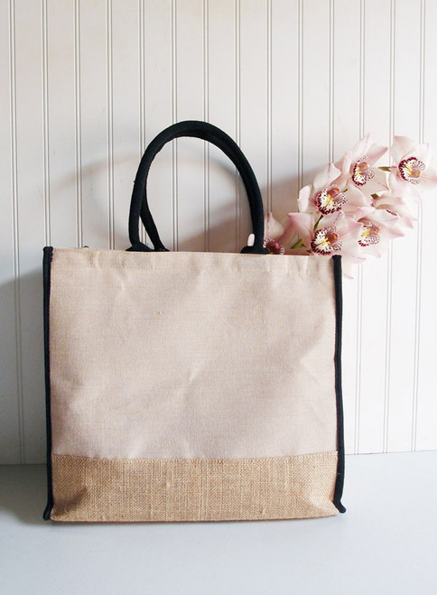 "Jute Blend Tote with Black Trim 15"" x 13"""