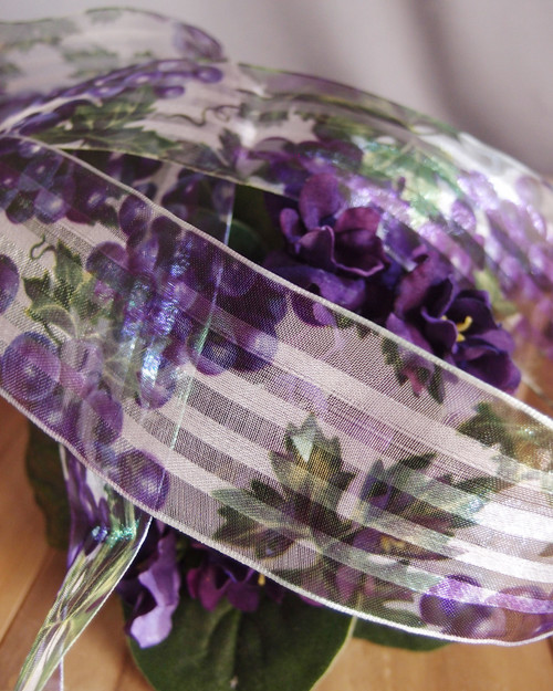 Grape Vine Print Satin/Sheer Ribbon with Wired Edge
