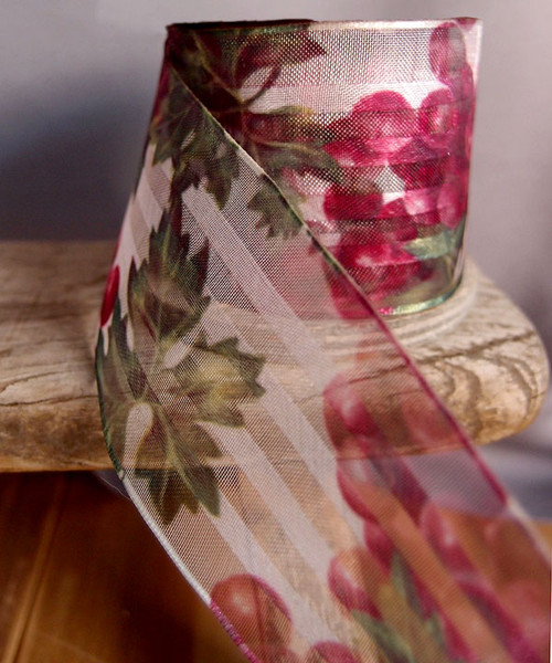 Grape Vine Print Satin/Sheer Ribbon with Wired Edge-Red