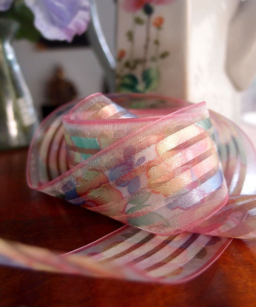 Pink Sheer Floral Ribbon with Satin Stripes
