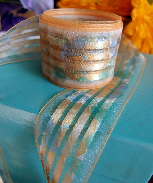 Orange Sheer Floral Ribbon with Satin Stripes