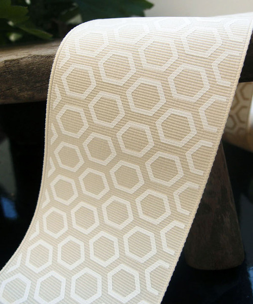 White Hexagon Print Grosgrain Ribbon (2 sizes)