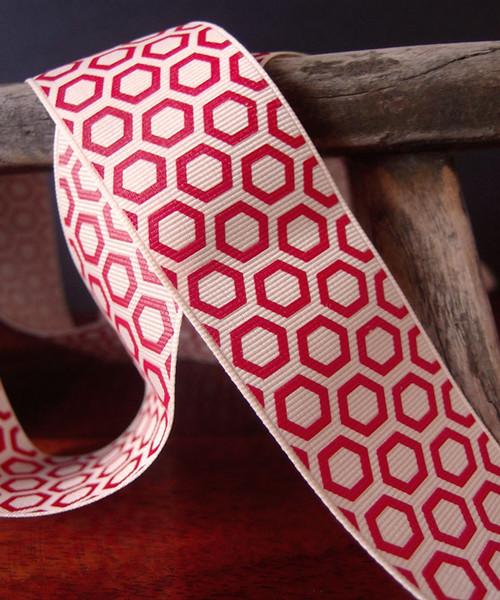 Red Hexagon Print Grosgrain Ribbon (2 sizes)
