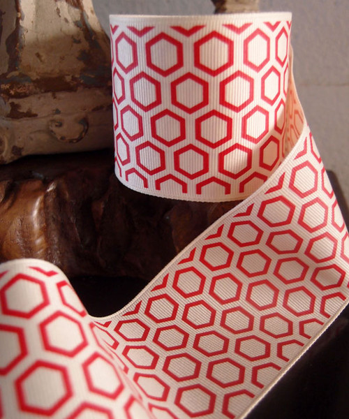 Red Hexagon Print Grosgrain Ribbon (2 sizes)