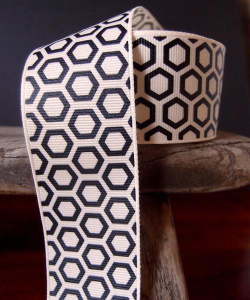 Black Hexagon Print Grosgrain Ribbon (2 sizes)