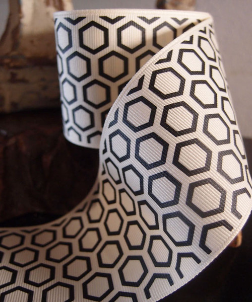 Black Hexagon Print Grosgrain Ribbon (2 sizes)