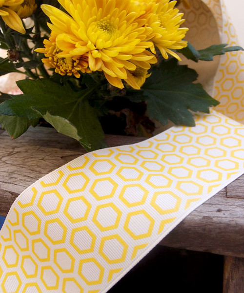 Yellow Hexagon Print Grosgrain Ribbon (2 sizes)