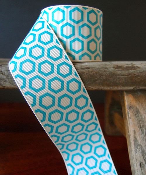 Turquoise Hexagon Print Grosgrain Ribbon (2 sizes)