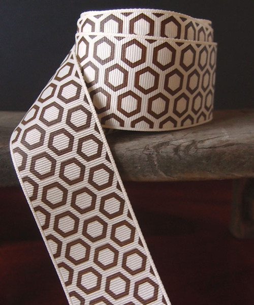 Brown Hexagon Print Grosgrain Ribbon (2 sizes)