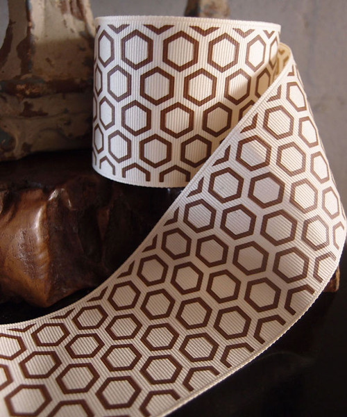 Brown Hexagon Print Grosgrain Ribbon (2 sizes)