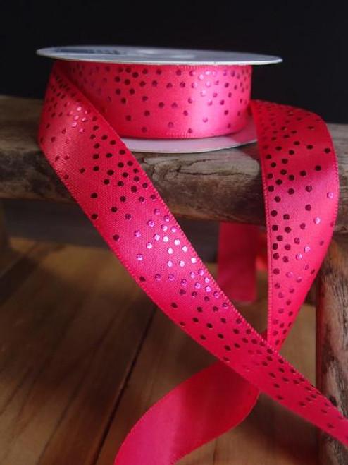 Hot Pink Satin Ribbon with Shiny Dots