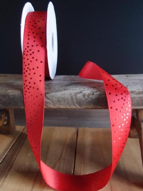 Red Satin Ribbon with Shiny Dots