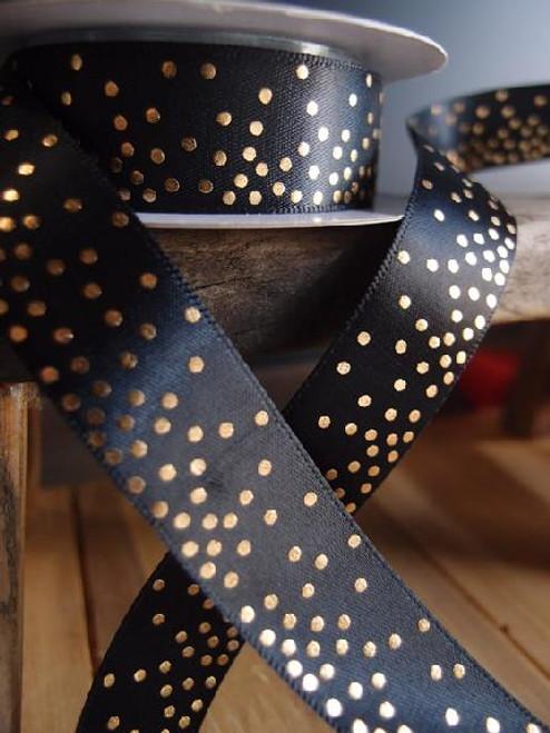 Black Satin Ribbon with Shiny Dots