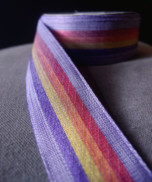 Vintage Cloth Striped Rainbow Ribbon - Purple